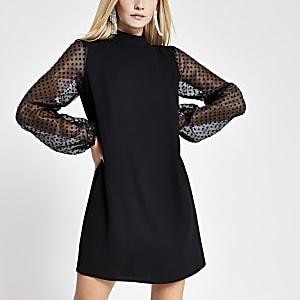 Petite – Schwarzes Swing-Kleid mit Ärmeln aus Organza