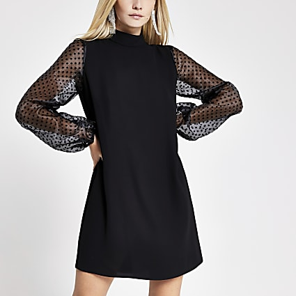 Petite black organza sleeve swing dress