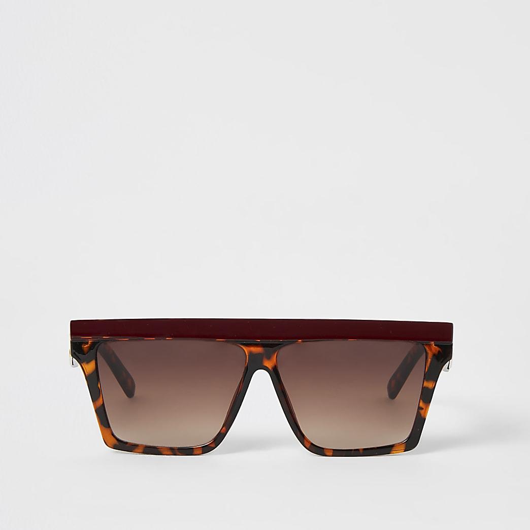 Lunettes de soleil masque avec barre contrastée marron