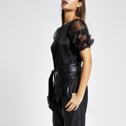 Black short organza puff sleeve satin top