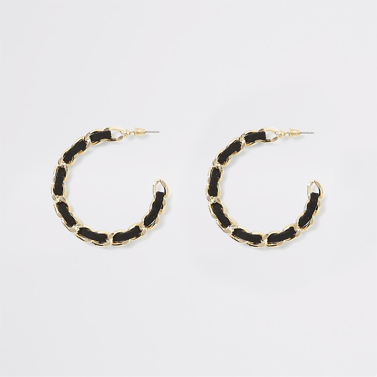 Gold colour suede threaded hoop earrings