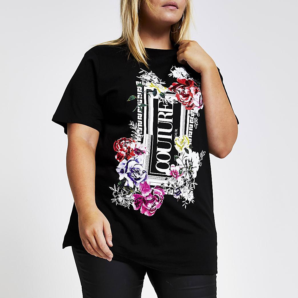 RI Plus - Zwart oversized T-shirt met bloemenprint