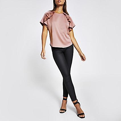 Pink scuba frill short sleeve top