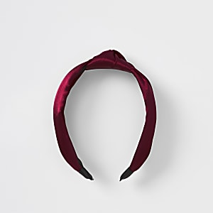 Serre-tête en satin avec nœud rouge foncé