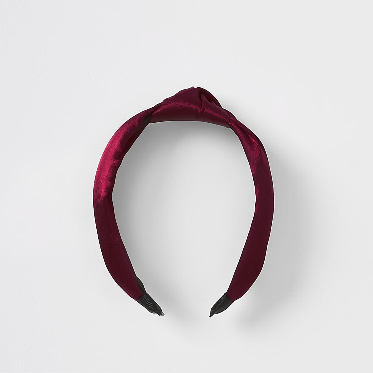 Dark red knot satin headband