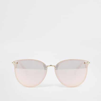 Pink mirrored retro frame sunglasses