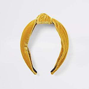 Gelber Haareif aus Cord mit Knoten