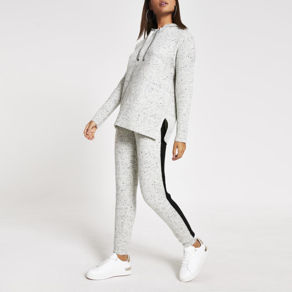 Pantalons de jogging gris mouchetéavec bande latérale contrastée