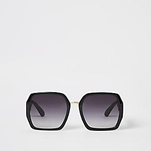 Lunettes de soleil glamour carrées noires