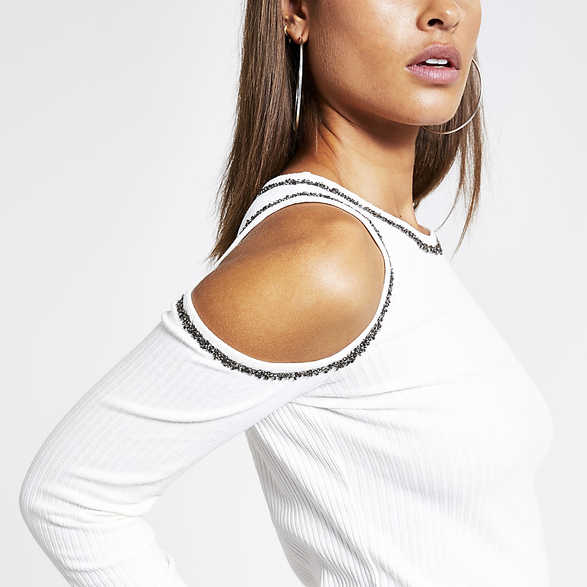 Cream cold shoulder embellished fitted top