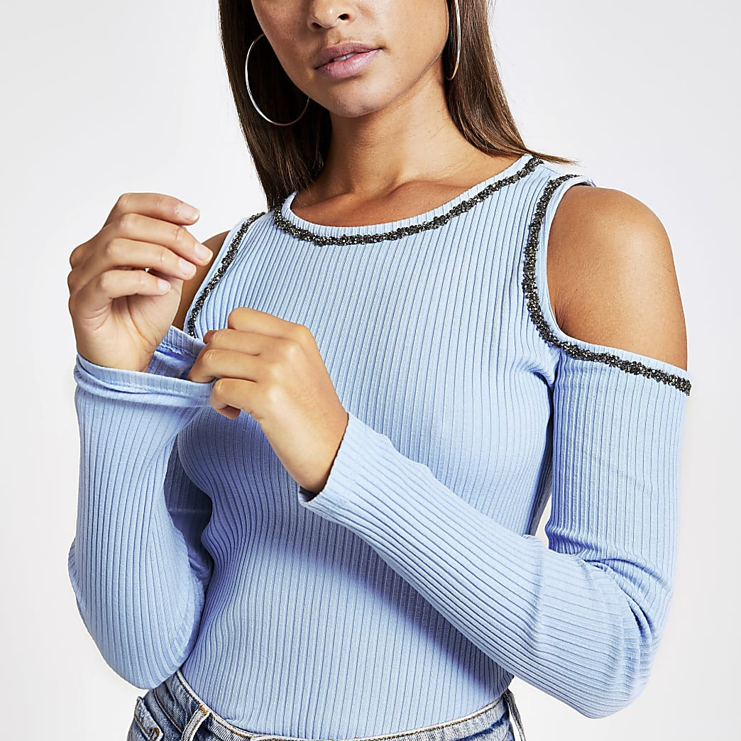 Blue cold shoulder embellished fitted top