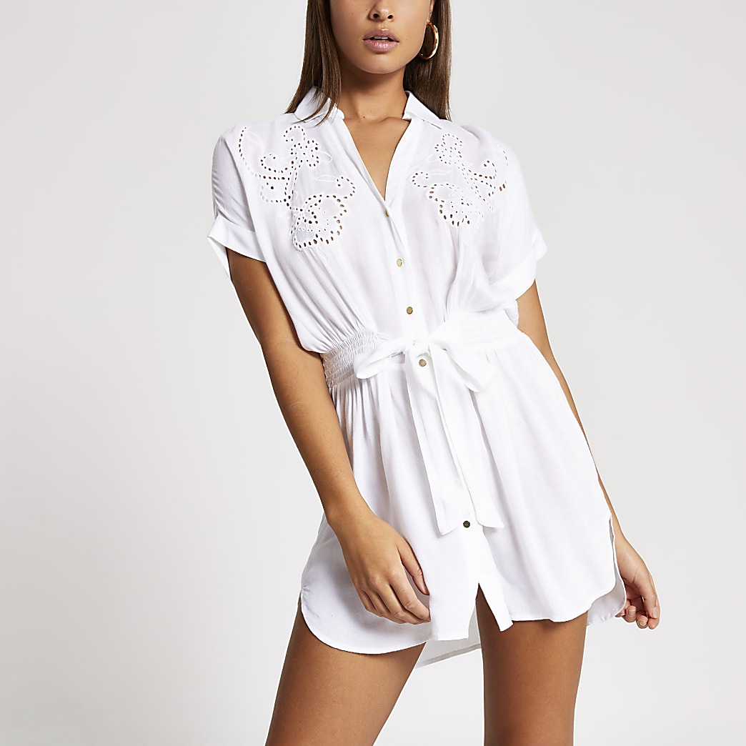 White embroidered tie front shirt beach dress