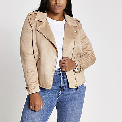 Plus stone suedette quilted biker jacket