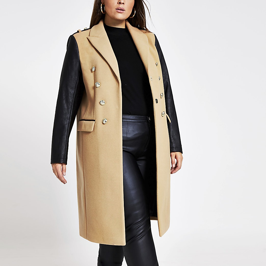 RI Plus - Bruine lange jas met kleurvlakken