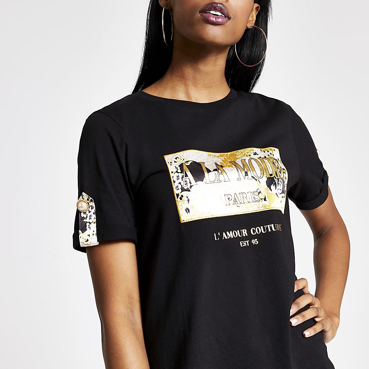 Black printed button sleeve box T-shirt