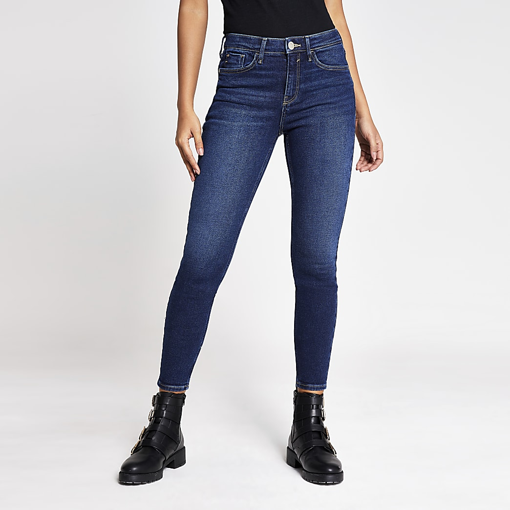 Dark blue Amelie mid rise super skinny jeans
