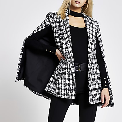 Black boucle check belted cape jacket
