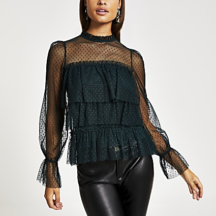 Green polka dot sheer long sleeve frill top
