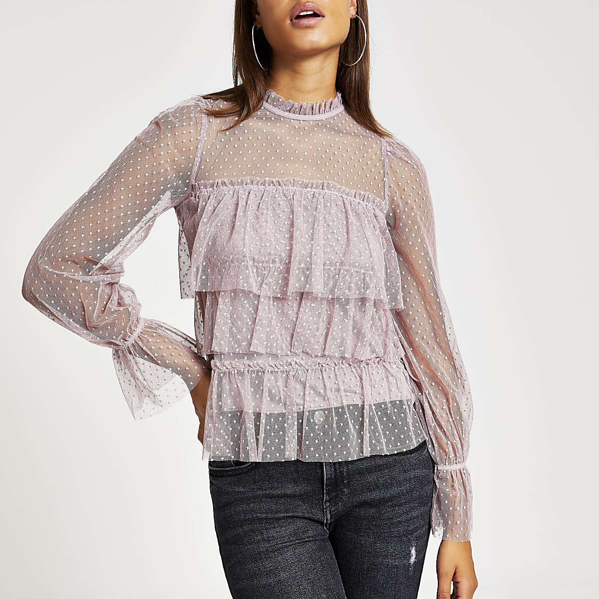 Purple polka dot sheer long sleeve frill top
