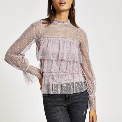 Purple polka dot sheer long sleeve frill top