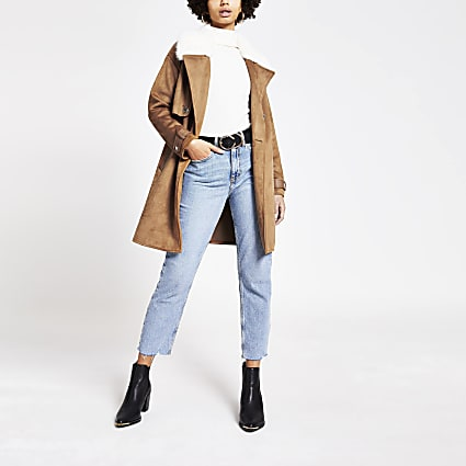 Brown faux suede longline duster jacket