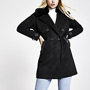 Lang geschnittene Duster-Jacke aus Wildlederimitat in Schwarz