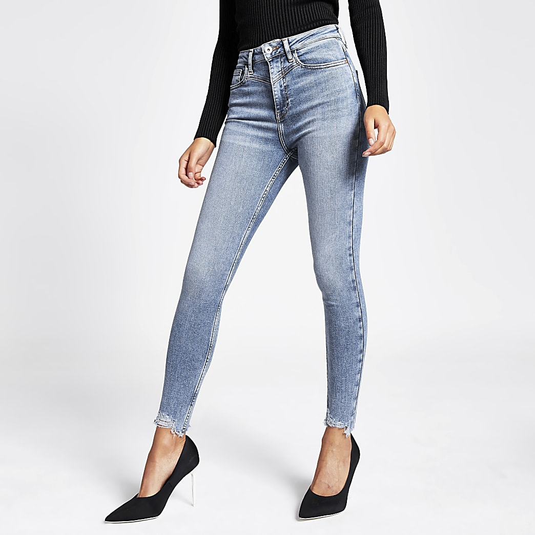 Hailey – Jean taille haute bleu moyen