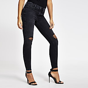 Molly– Schwarze Super Skinny Jeans im Used-Look