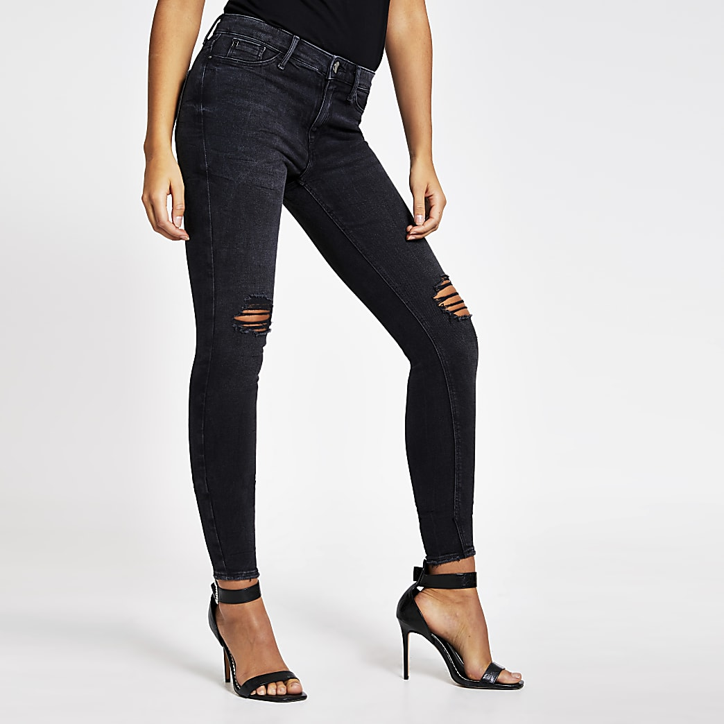 Black ripped Molly super skinny jeans