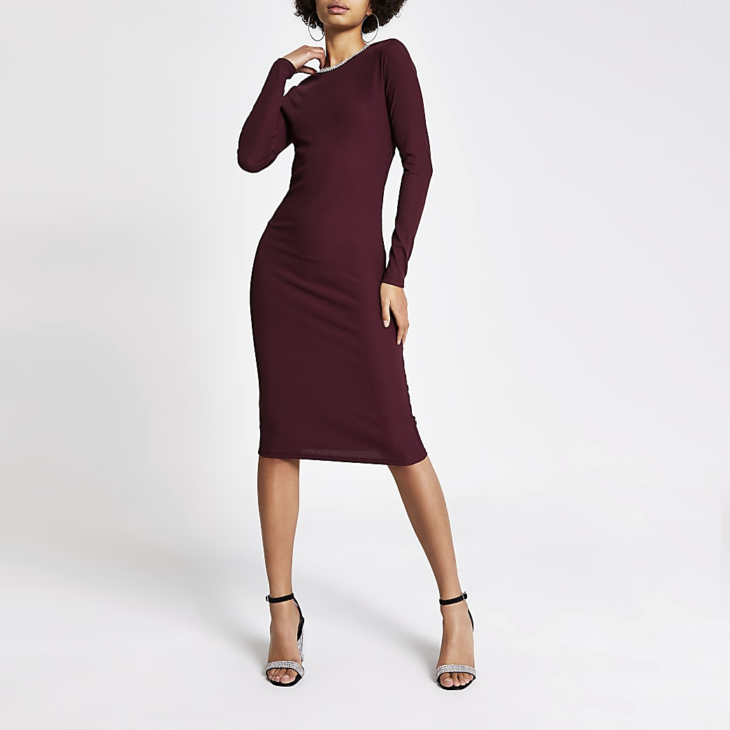 Red diamante neck bodycon midi dress