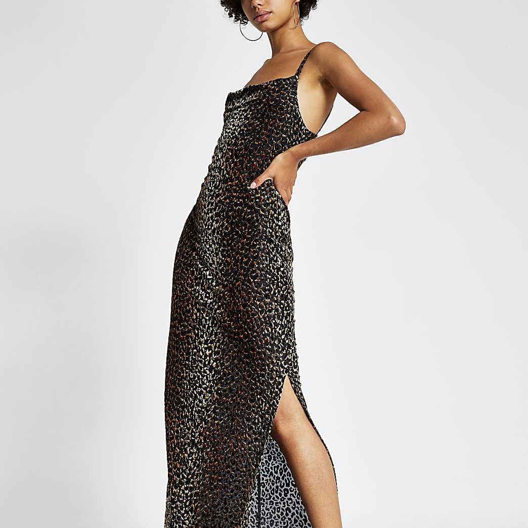 Brown leopard print devore maxi slip dress