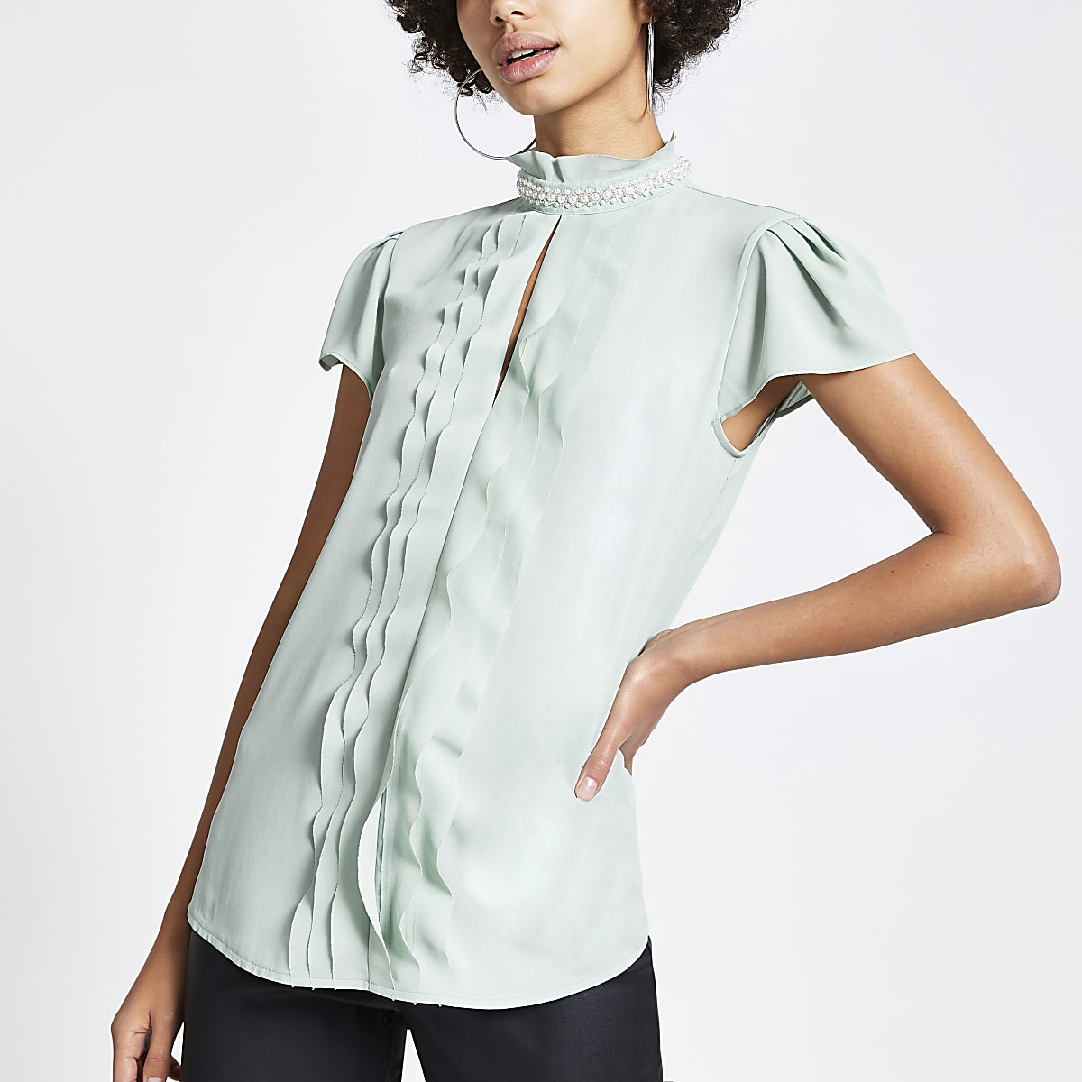 Green pearl neck ruffle front blouse