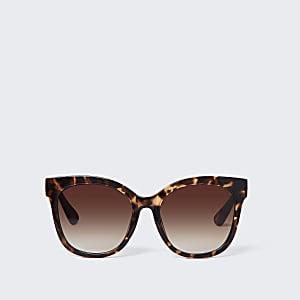 Braune große Schildpatt-Sonnenbrille