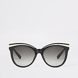 Schwarze Sonnenbrillen mit glänzendem Metall-Detail
