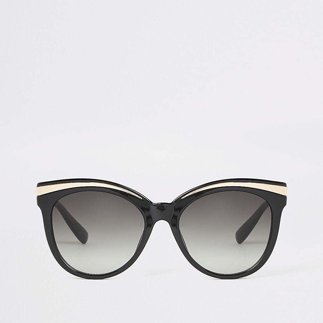 Zwarte zonnebril met metalen details