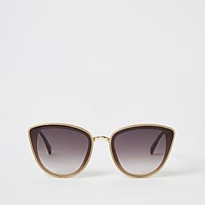 Sonnenbrille im Cateye-Stil und beige-strukturierten Bügeln