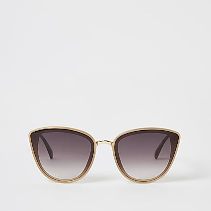 Beige textured arm cateye sunglasses