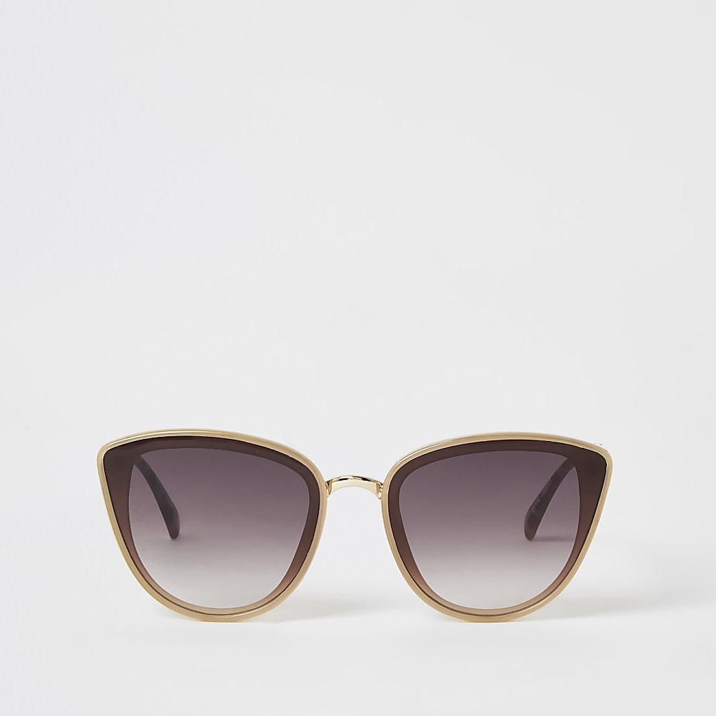 Beige textured arm cateye sunglasses