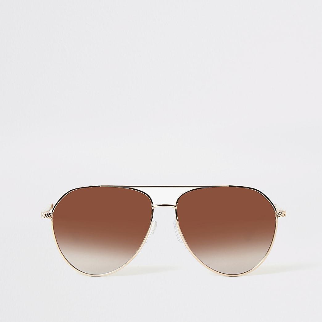 Lunettes de soleil aviateur avec verres teintés or rose