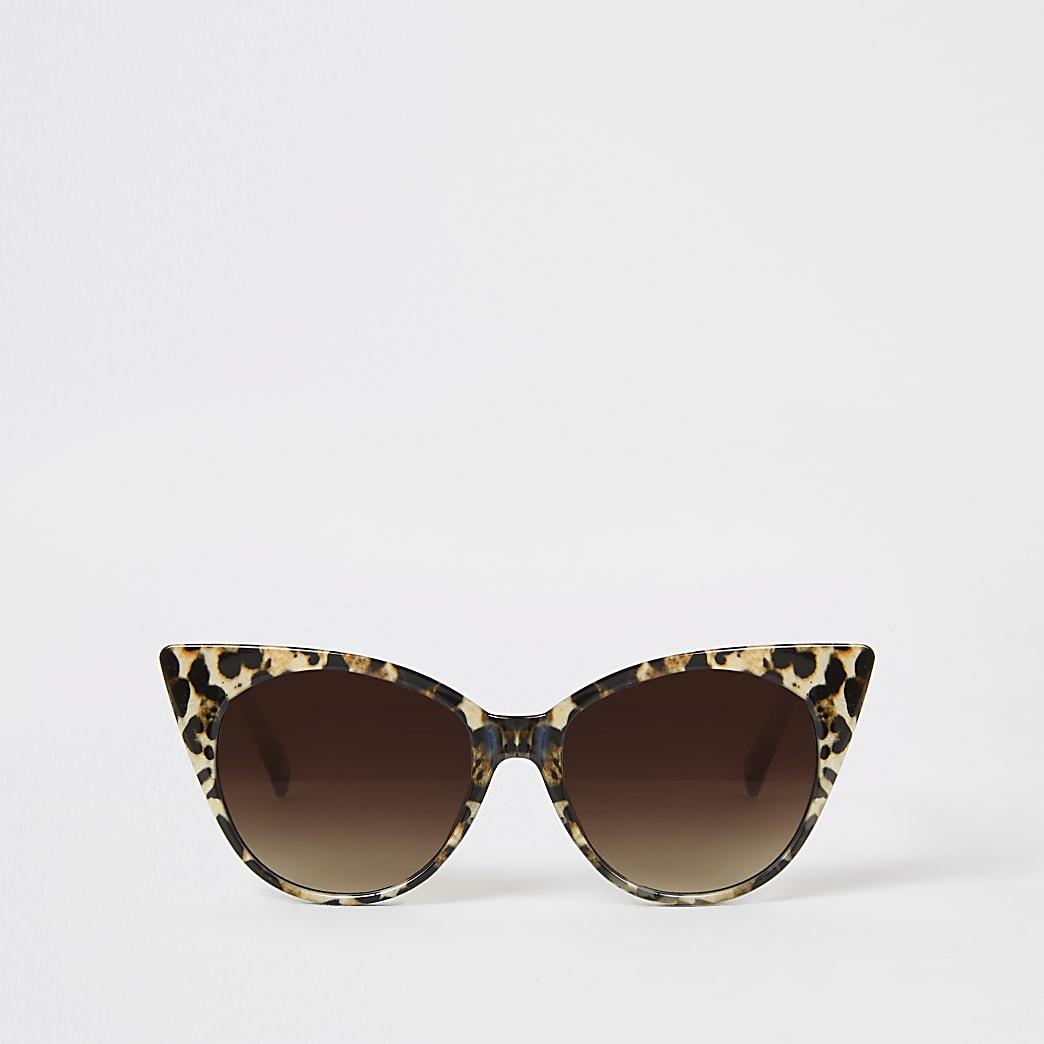 Lunettes de soleilœil de chat marron imprimé léopard