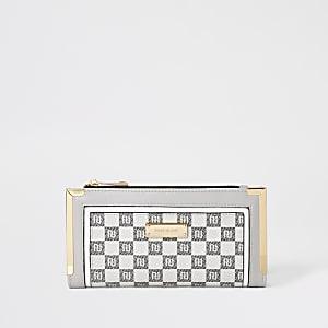 Portefeuille gris imprimécarreaux à logo RI avec rabat
