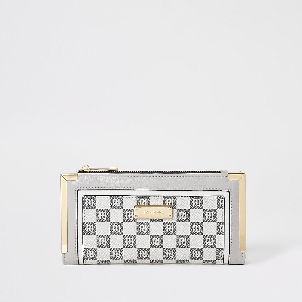 Grey RI monogram check fold out purse