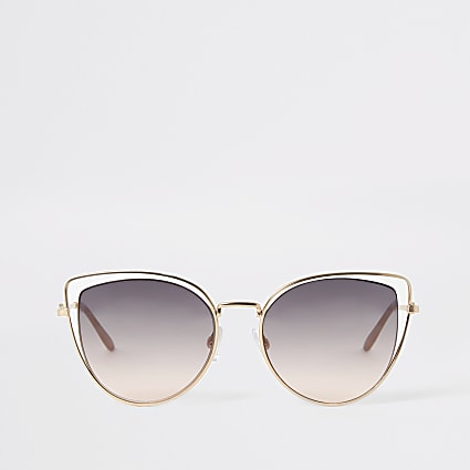 Gold double frame cateye sunglasses