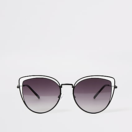 Black double frame cateye sunglasses