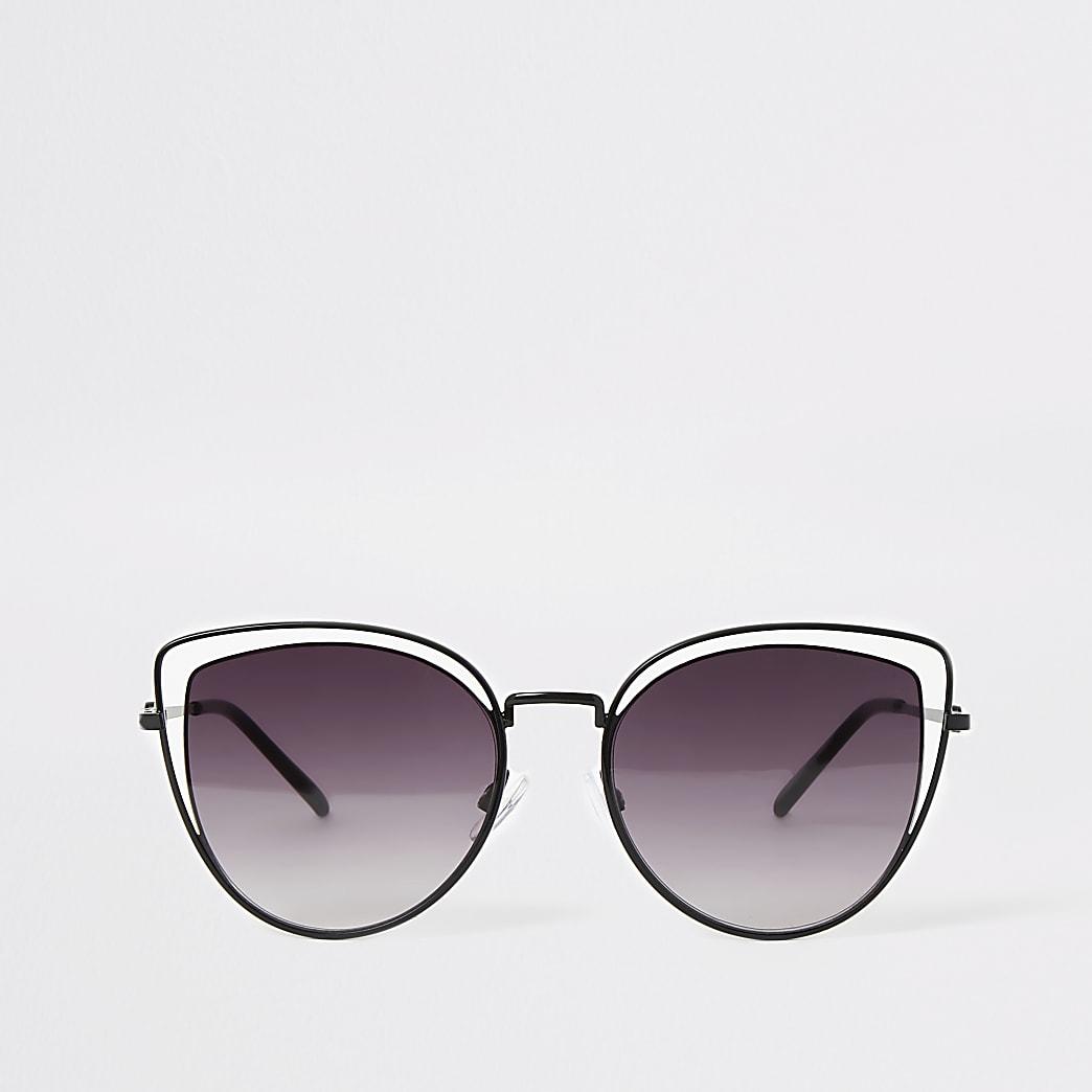 Zwarte zonnebril met dubbel kattenoogmontuur