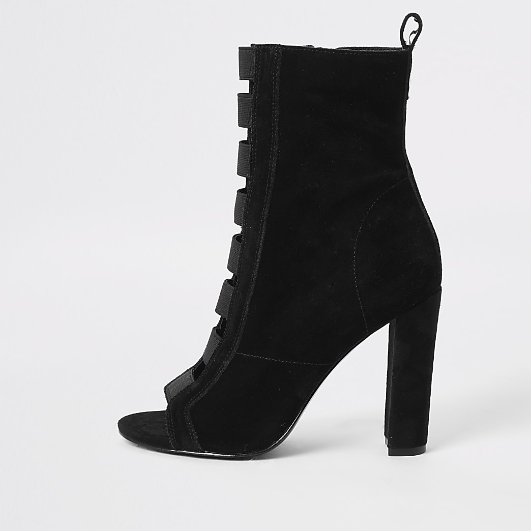 Black suede elasticated heeled ankle boots