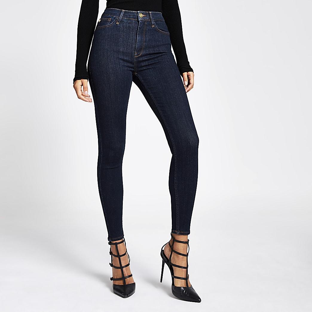 Hailey – Jean taille haute bleu foncé