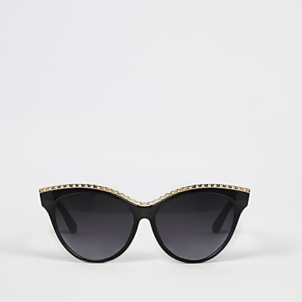 Black diamante embellish cateye sunglasses