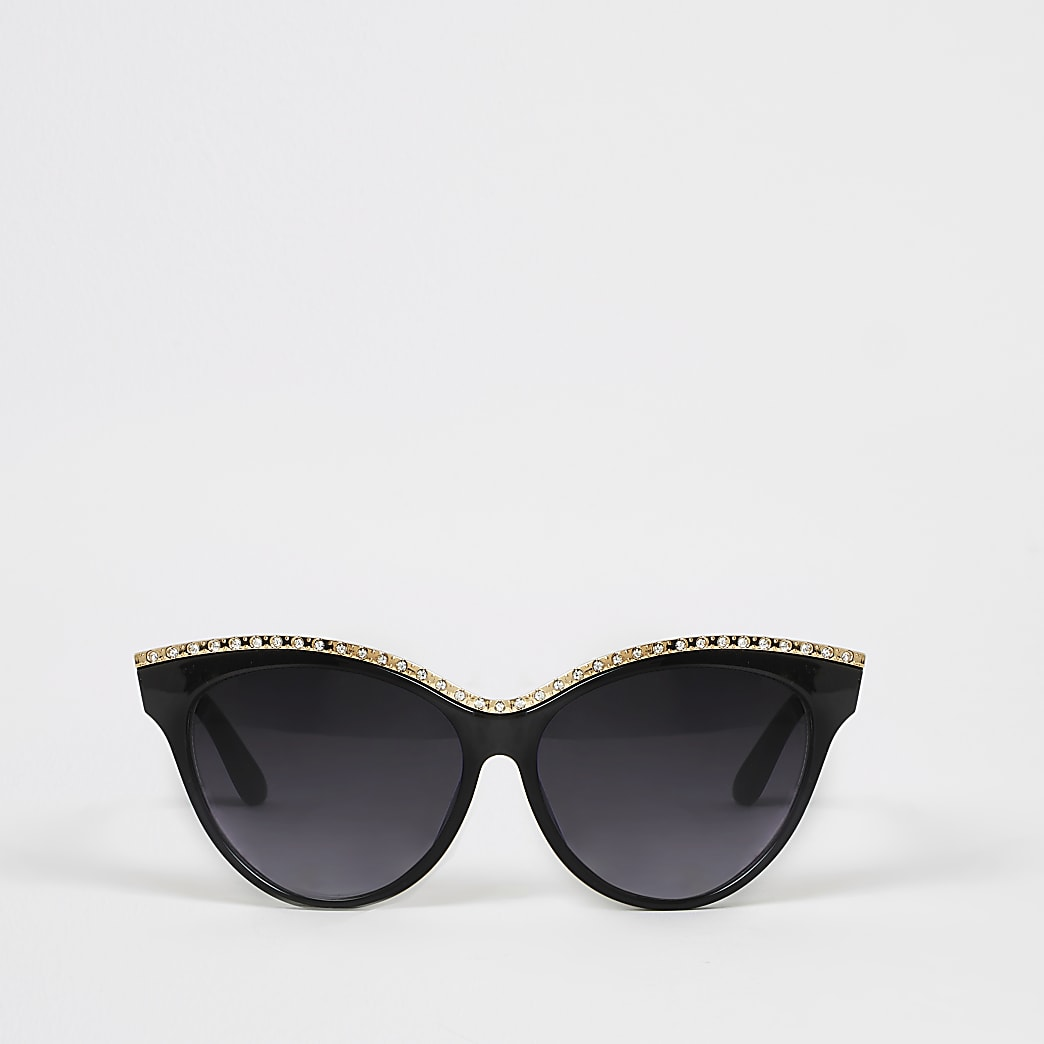 Schwarze Cateye-Sonnenbrille mit Strassverzierung