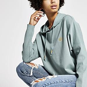 Lichtgroene hoodie met vleermuismouwen